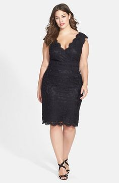 Tadashi Shoji Embroidered Lace Sheath Dress (Plus Size) | Nordstrom