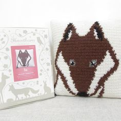 Fox Crochet Cushion Kit  Complete Craft Kit by HawthornHandmade