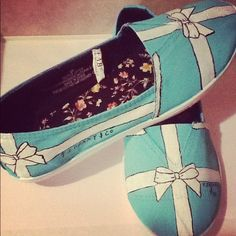 Hand Painted Tiffany & Co Bow Flats Swarovski Toms Keds Tiffany Blue Shoes Flats tiffany and co. $35.00, via Etsy.
