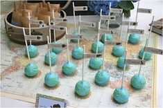 Hostess with the Mostess® - Around the World Baby Shower Globe Cake pops Shower Party, Baby Shower Parties, Baby Shower Themes, Baby Boy Shower, Baby Shower Decorations, Shower Ideas, Bridal Shower, Wedding Decorations, Around The World Prom Theme