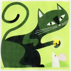 Illustration by Matthew Hollister (via grain edit) #MatthewHollister #cat #cheese #mouse