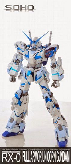 GUNDAM GUY: MG 1/100 Full Armor Unicorn Gundam 'ANA Colors' - Painted Build Soho, Unicorn Gundam, Gunpla Custom, The 100, Studio, Building, Custom Decals, Type, Robots