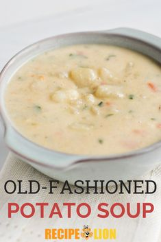 This old fashioned potato soup recipe is easy to make but so satisfying! Cream Soup Recipes, Vegetable Soup Recipes, Chicken Soup Recipes, Easy Soup Recipes, Supper Recipes, Cooking Recipes, Homemade Potato Soup, Creamy Potato Soup, Classic Potato Soup Recipe