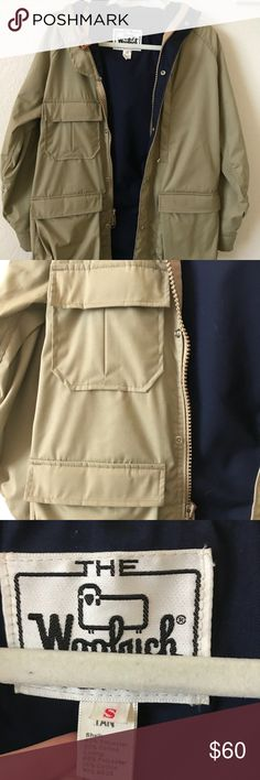 The Woolrich Women Parka small A parka made by the woolrich women. VERY warm and comfortable. Perfect for a casual day out in the rain . Buttons & zips up as well as ties in the middle inside. Has a hood and multiple pockets. 65% polyester. 35% cotton. Jackets & Coats