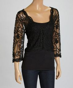 Look what I found on #zulily! Black Floral Silk-Blend V-Neck Shrug #zulilyfinds