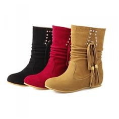 Sweet Flat Ankle Boots with Tassels&rivets