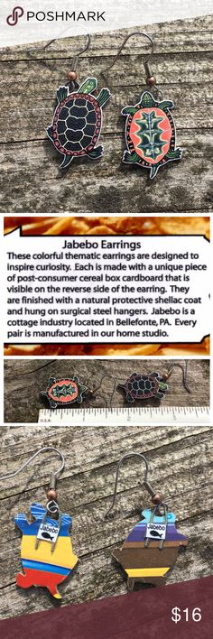 Jabebo Turtle earrings Very lightweight turtle earrings made from recycled cereal boxes with non-toxic shellac coating. One is top of Turtle, the other is the underside. Water resistant but not water proof. All original artwork researched for accuracy. Fun!! Jabebo Jewelry Earrings