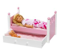 """For American Girl Doll Single Bed & Trundle - Fits 18"""" Inch Dolls Furniture [Doll Not Included] List Price: $69.99 Buy Now: $49.99 Select Buy Button For Discount Price]"""