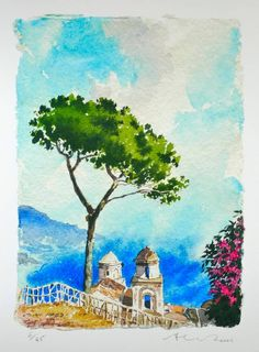 Ravello, Sorrento Italy  Limited edition giclee print of 45  A classic, iconic view of Ravello on the Amalfi coast in Southern Italy looking down into the blue sea below.