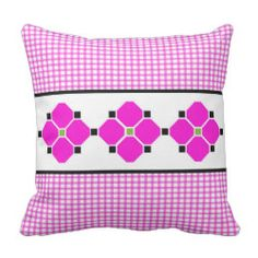 Gingham and Flowers Indoor/Outdoor Pillow in Pink