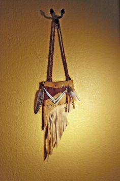 Handmade bohemian tribal leather shoulder bag by thegypsiescaravan, $125.00