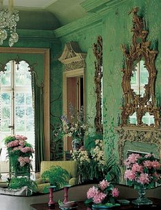 "In 1969 the Annenbergs hired Haines and Graber to redecorate Winfield House, the U.S. Embassy residence in London. ""It was exquisite,"" Haines said of the 100-year-old hand-painted Chinese wallcovering he used on the garden room's walls. Photography by Derry Moore, Russell MacMasters, Bruce Katz"