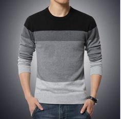 e1483390501 Pánský stylový slim svetr šedivý s pruhy – pánské svetry + POŠTOVNÉ ZDARMA  Na tento produkt
