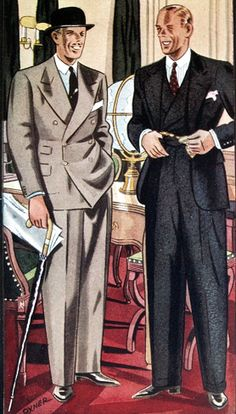 What the sack suits looked like by 1934. Double breasted or single breasted, they were standard business clothing. Esquire, Feb. 1934.
