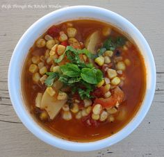 Grilled Corn Soup │ © Life Through the Kitchen Window.com Urban Cottage, Corn Soup, Plant Based Eating, Chana Masala, Grilling, Beans, Vegetables, Window, Ethnic Recipes
