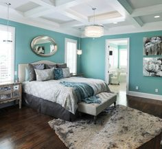 Color Idea: teal/turquoise walls, white ceilings, gray linens..Love this color scheme for the bedroom!