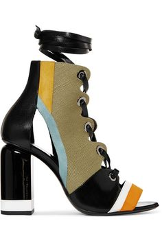Pierre Hardy - Alchimia Paneled Leather, Suede And Canvas Sandals - Army green - FR38