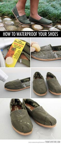 How to waterproof Toms @Allie Kenney this might have come in handy when we walked home that one day... :)