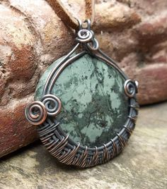 UPCYCLED Made to Order Denim Jasper and Copper Wire Wrapped Pendant, Copper Pendant, Wire Wrapped Pendant