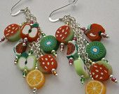 925 Sterling Silver Tuitty Fruity Fimo Clay Fruit Dangle Earrings