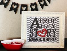 a true love story free printable and cute heart banner