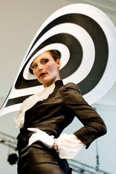 d0864dc8cdbce Huge black   white striped hat by Philip Treacy. Lots of crazy