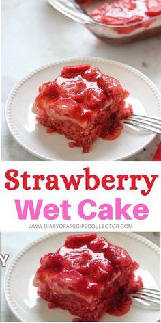 Strawberry Jello Cake, Strawberry Kitchen, Lemon Dessert Recipes, Lemon Recipes, Quick Easy Desserts, Delicious Desserts, Cream Cheese Desserts, Quick Cake, Yummy Cakes