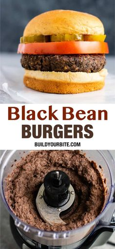 The Best Black Bean Burger Recipe - Build Your Bite - Live Better- Eat Better -. - The Best Black Bean Burger Recipe – Build Your Bite – Live Better- Eat Better – - Black Bean Burgers, Black Bean Veggie Burger, Black Burger, Black Bean Patties, Vegan Bean Burger, Meatless Burgers, Vegetarian Burger Patties, Vegan Recipes, Cooking Recipes
