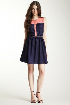 Freeway Belted Two-Tone Shirt Dress by Non Specific on @HauteLook