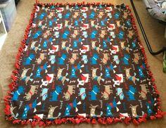 Puppy Dog Fleece Blanket by etsyoddsandends on Etsy, $25.00