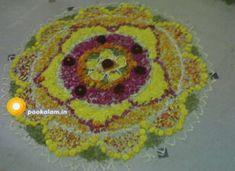Onam Pookalam Design Onam Greetings, Onam Pookalam Design, Onam Wishes, Onam Festival, Happy Onam, Kinds Of Colors, Floor Art, Types Of Flowers, Rangoli Designs
