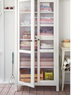Ikea bookshelf as linen closet