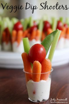 Veggie Dip Shooters are the perfect way to serve veggies and dip. MommyMoment.ca