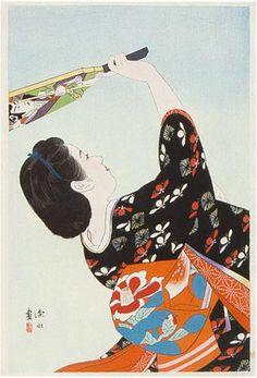 Battledore and Shuttlecock  by Ito Shinsui, 1938  (published by Watanabe Shozaburo)