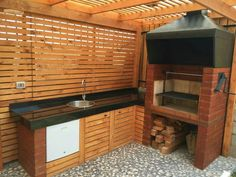 QUINCHO Diy Outdoor Furniture, Outdoor Rooms, Ponds Backyard, Backyard Patio, Outdoor Kitchen Design, Kitchen Decor, Ideas Terraza, Outdoor Grill Station, Swimming Pool Lights