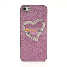 3D Heart Diamond Inlaid Shimmering Powder Electroplating Hard Cover Case for iPhone 5 - Pink