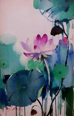 Watercolor Water, Watercolour Painting, Watercolor Flowers, Watercolors, Japanese Prints, Japanese Art, Lotus Blossoms, Japon Tokyo, Chinese Flowers