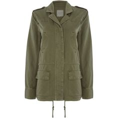 Part Two Casual jacket made from a slightly washed twill ($165) ❤ liked on Polyvore featuring outerwear, jackets, green, women, twill jacket, drawstring jacket and green jacket