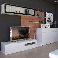 Mueble de salón con panel, aparador y módulo vitrina