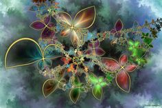 Fractal butterflies! This fractal was created by Keith Mackay. In addition to segami at deviantart, he can also be found under Deagol at Renderosity.com