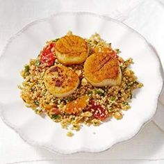 Quinoa Pilaf with Seared Scallops Recipe