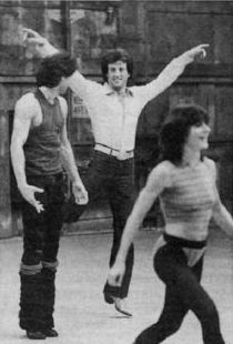 Sly and John Travolta on Stayin' Alive set...dancing great...travolta can DANCE