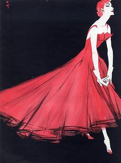 Lanvin Castillo 1955 René Gruau, Evening Gown, Fashion Illustration
