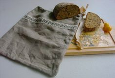 Organic Linen bread bag natural linen bread by LinenWoolRainbow