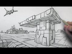 This Video contains a guide how to draw 2 point perspective, Most of the lines are drawn darker nearest to the drawer, this gives the effect the sunlight is coming from out of view, the lines also help give depth as they get smaller into the distance