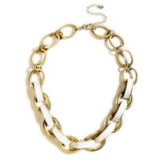 White Enamel and Gold Plated Necklace, InStyle Magazine February 2013