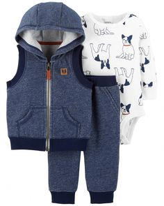 Carters Baby Boys 3 Piece Vest Set French Bulldog 24 Months *** Visit the picture link more details. (This is an affiliate link). Baby Outfits, Kids Outfits, Baby Set, Organic Baby Clothes, Cute Baby Clothes, Carters Baby Clothes, Summer Clothes, Baby Boy Fashion, Kids Fashion