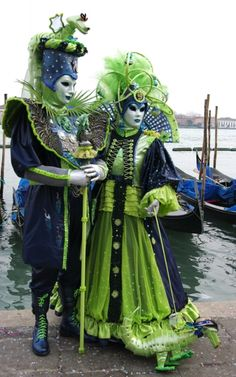 Blue and green couple