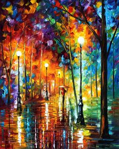 LATE STROLL— PALETTE KNIFE Oil Painting On Canvas By Leonid Afremov - Size 24x30""