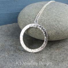Starburst Circle Sterling Silver Pendant - Hammered Textured Metalwork Necklace £40.00